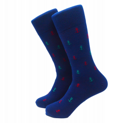 Anchor Socks Blue - Men's Mid Calf