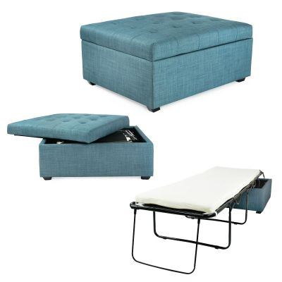 iBED Convertible Ottoman Guest Bed-Blue