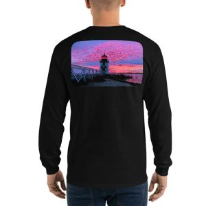 Brant Point Lighthouse Nantucket Sunset Long Sleeve T-Shirt